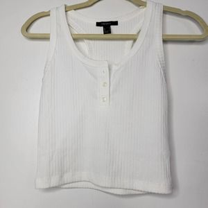 S Forever 21 white tank top striped blouse button front T